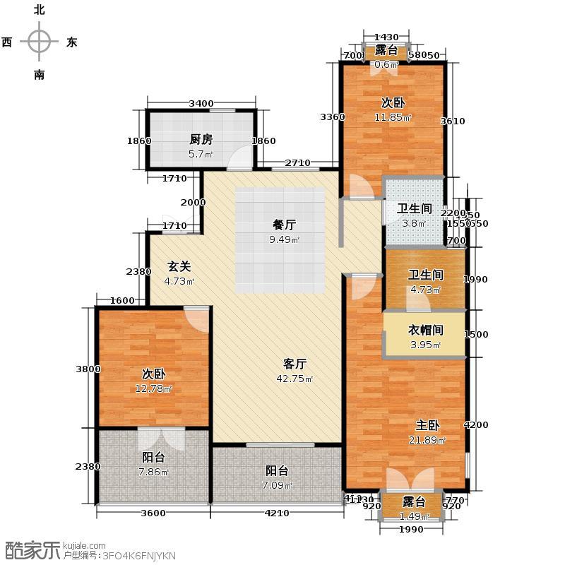 华盛达阅城135.00㎡7、8号楼2层中间套C4户型3室2厅2卫