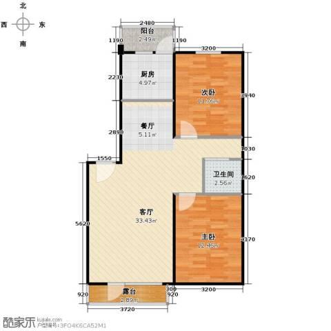 中央湖畔2室1厅1卫1厨90.00㎡户型图