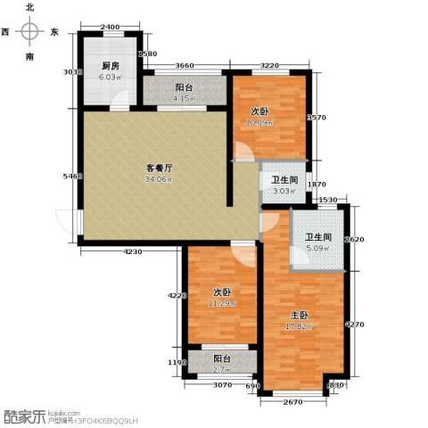 汇君城3室2厅2卫0厨128.00㎡户型图