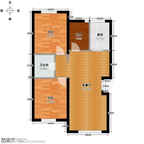 泰莱香榭里3室1厅1卫1厨89.00㎡户型图