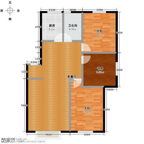 塞纳家园3室1厅1卫1厨109.00㎡户型图