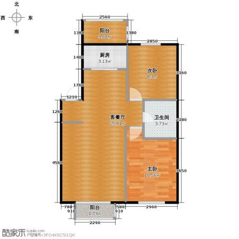 塞纳家园2室1厅1卫1厨77.00㎡户型图