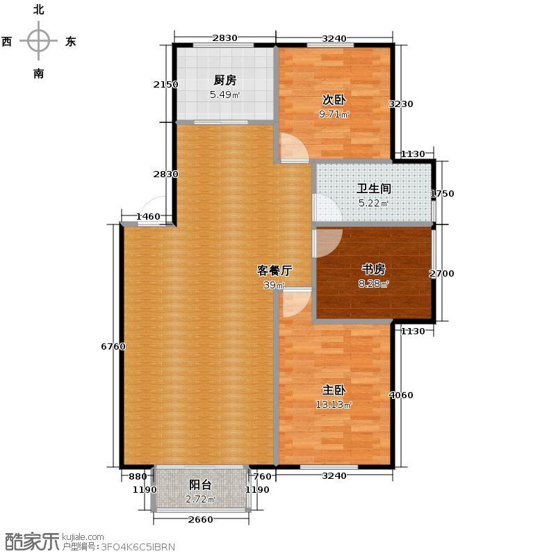 塞纳家园89.39㎡户型3室1厅1卫1厨
