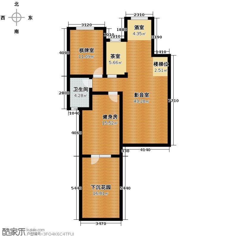 博荣水立方83.41㎡3-1-2地下室户型10室