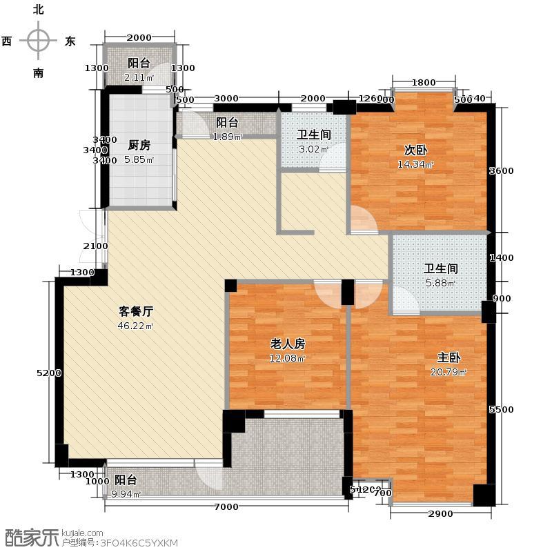 金地国际花园135.56㎡户型3室1厅2卫1厨