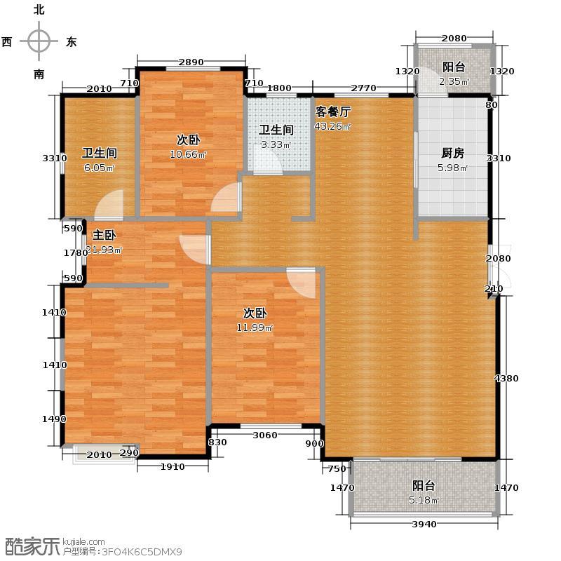 金地国际花园133.00㎡户型3室1厅2卫1厨