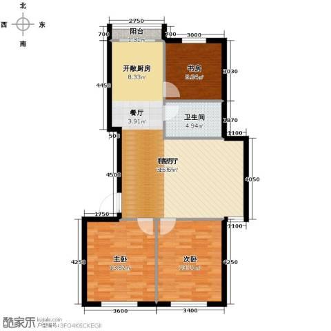 恒润御林湾3室1厅1卫0厨104.00㎡户型图