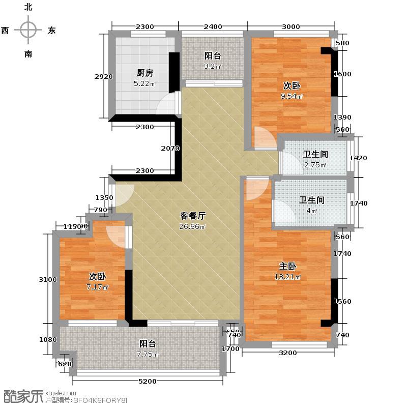 丽港阳光92.49㎡2座02单位精装户型3室2厅2卫