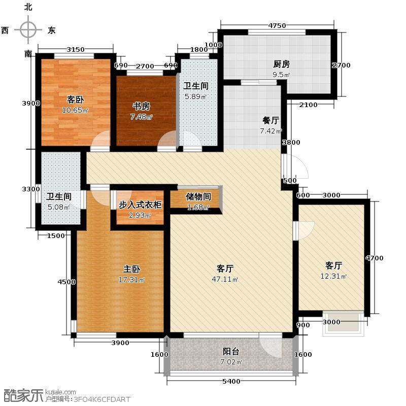 万科金域蓝湾173.00㎡户型3室2厅2卫