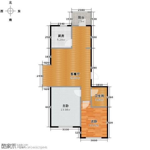 塞纳家园2室1厅1卫1厨85.00㎡户型图