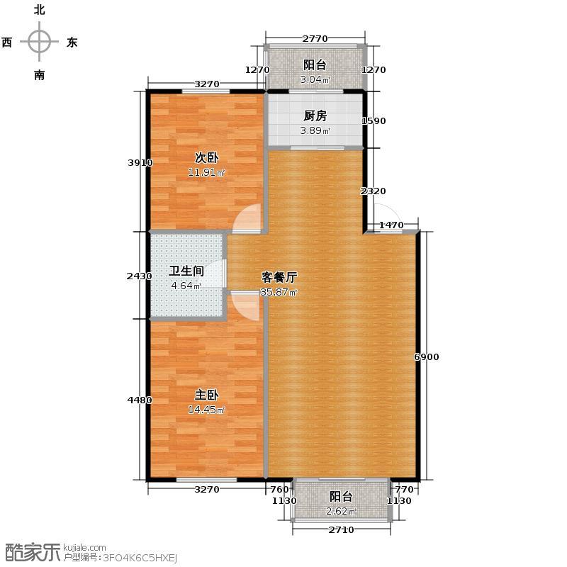 塞纳家园81.96㎡户型2室1厅1卫1厨