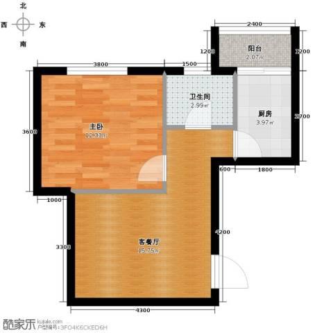 恒润御林湾1室1厅1卫1厨57.00㎡户型图