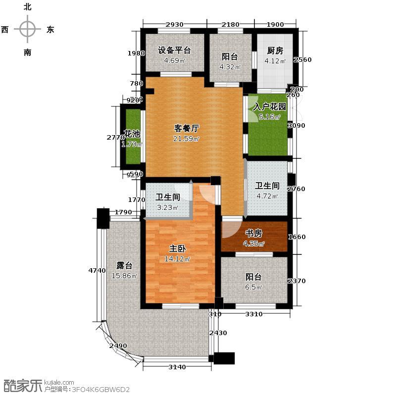 财和湘域湾89.00㎡L奇数层户型3室2厅2卫