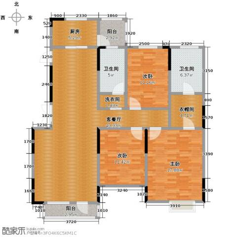 藏珑16203室1厅2卫1厨138.00㎡户型图
