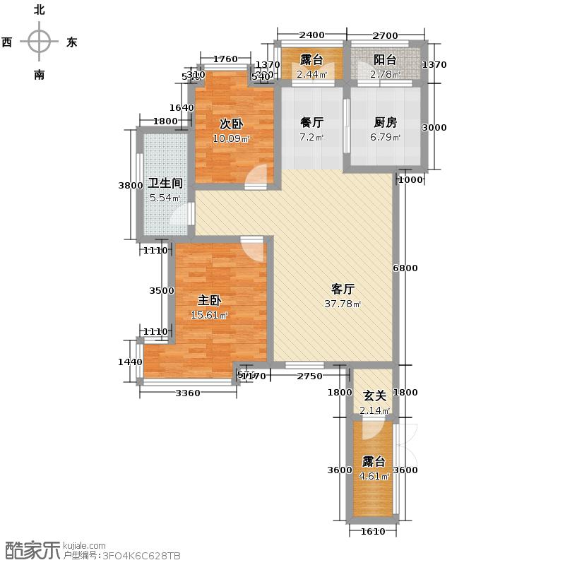 丽江苑102.56㎡一期户型2室2厅1卫