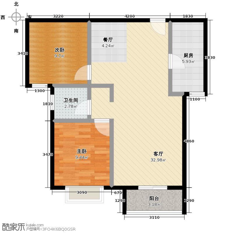 弘石湾87.52㎡M户型2室2厅1卫