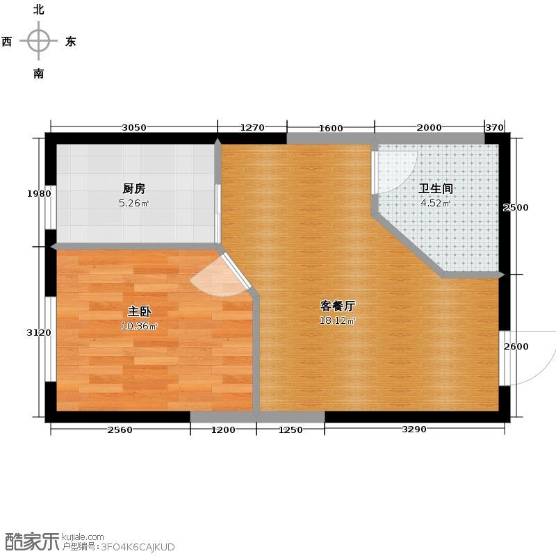 碧桂园凤凰城52.52㎡高层户型1室1厅1卫