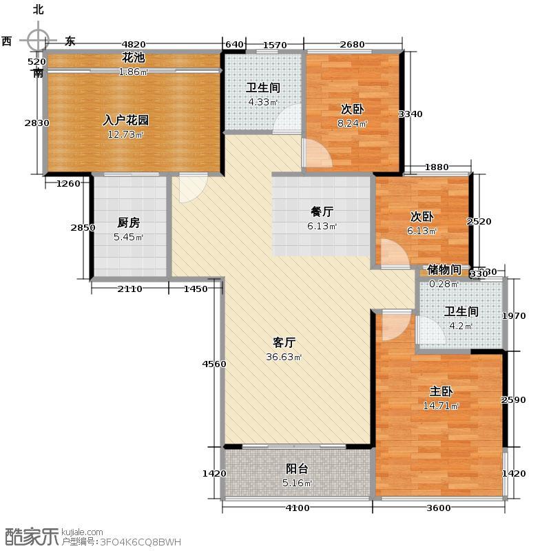 地铁金融城123.68㎡A3栋28-39层01户型3室2厅2卫