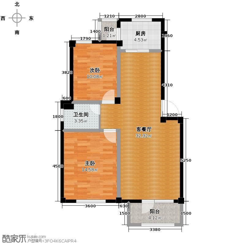 碧桂园凤凰城87.26㎡02多层户型2室2厅1卫
