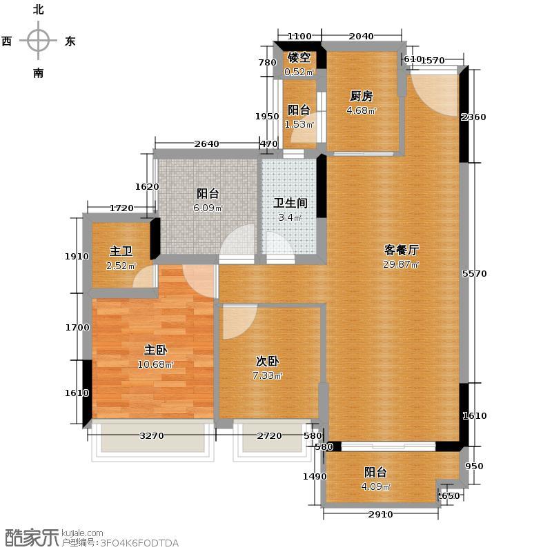 海湾城91.00㎡3/5/7座03/04单位4/6座03单位户型3室2厅2卫