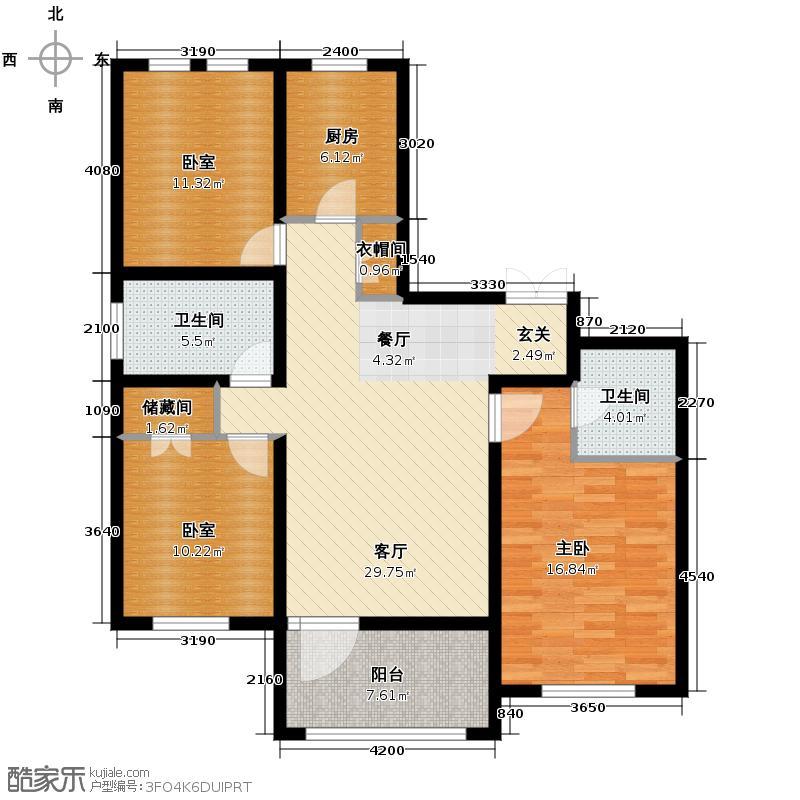 群力玫瑰湾5.00㎡G05预测户型3室2厅2卫