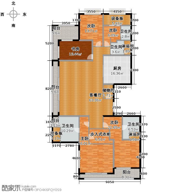 绿城西溪诚园282.00㎡正信苑L户型5室2厅4卫