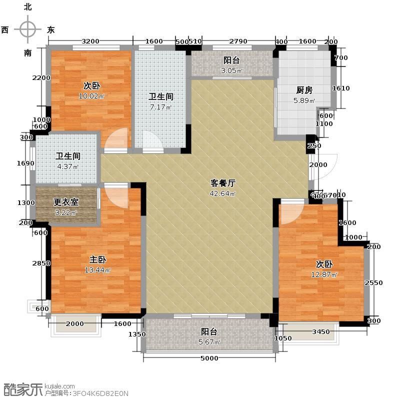 益田枫露143.00㎡F1户型3室2厅2卫