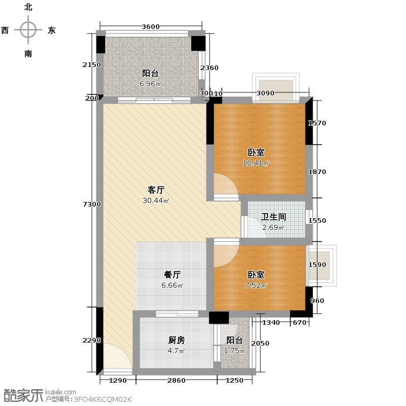劲嘉金棕榈园83.63㎡1栋B座02单位户型2室2厅1卫