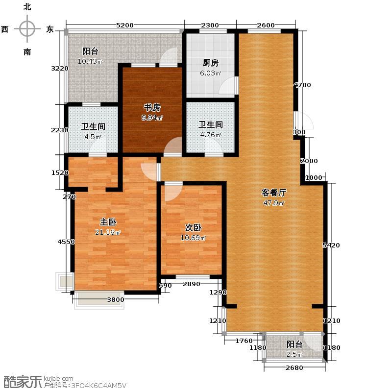 博荣水立方131.14㎡户型10室