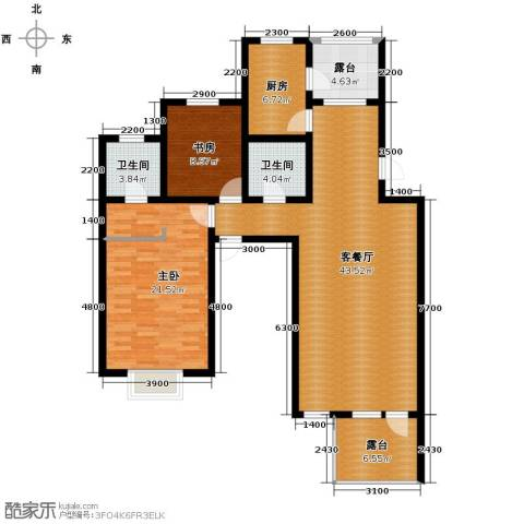 瑞赛居圣苑2室1厅2卫1厨130.00㎡户型图
