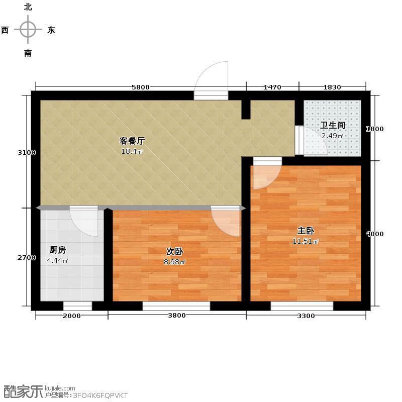 兆丰凯旋明珠65.78㎡5、6、7、8号楼N户型2室2厅1卫