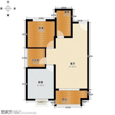 廊坊孔雀城2室2厅1卫0厨87.00㎡户型图