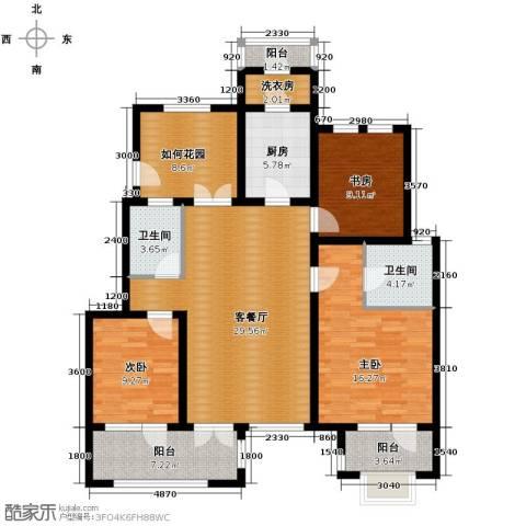 鸿坤・罗纳河谷3室1厅2卫1厨117.00㎡户型图
