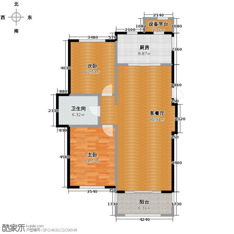 新湖御和园106.45㎡C1户型2室2厅1卫