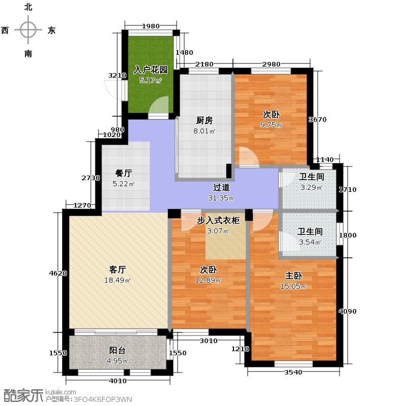 禧福凤凰城105.77㎡K尚品三居1277户型3室2厅2卫