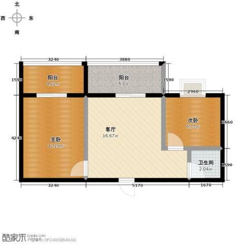 水岸东城2室1厅1卫0厨64.00㎡户型图