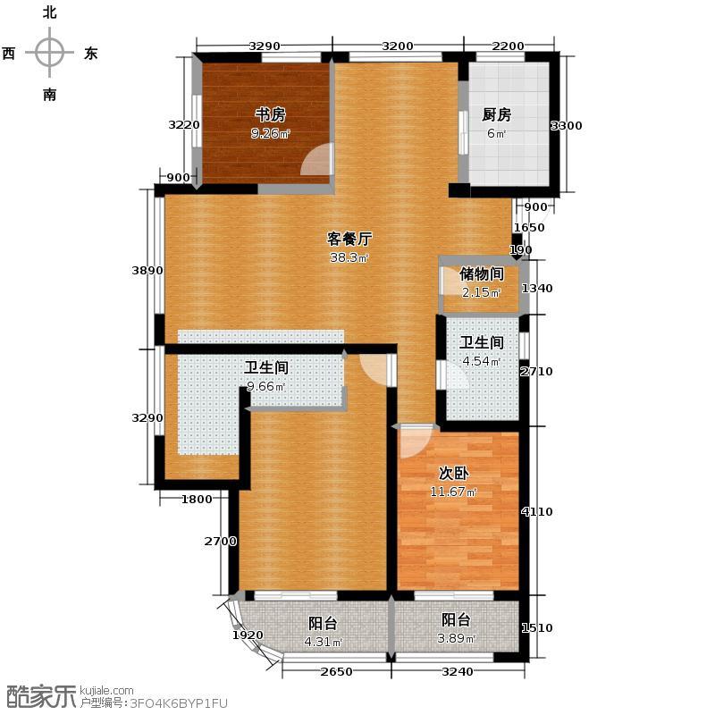 新湖果岭118.00㎡B户型3室2厅2卫