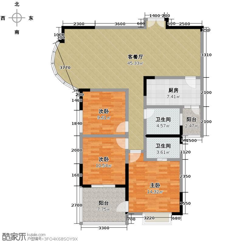 湘隆时代大公馆118.50㎡A-2户型3室1厅2卫1厨