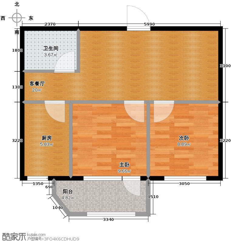 泰荣湾67.00㎡户型2室1厅1卫