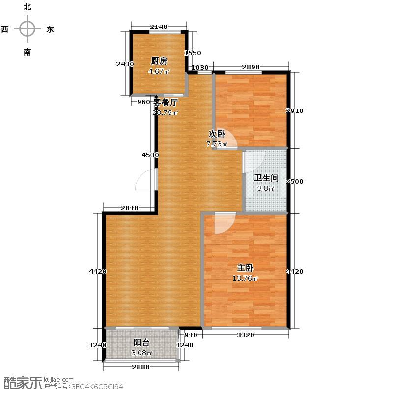 塞纳家园91.15㎡户型2室1厅1卫1厨