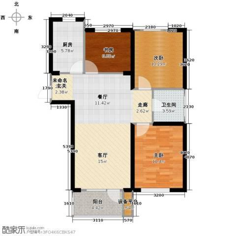 华府丹郡3室2厅1卫0厨101.00㎡户型图