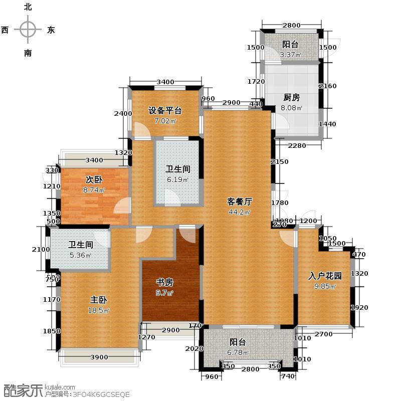 德圣博奥城155.00㎡白图户型3室1厅2卫1厨