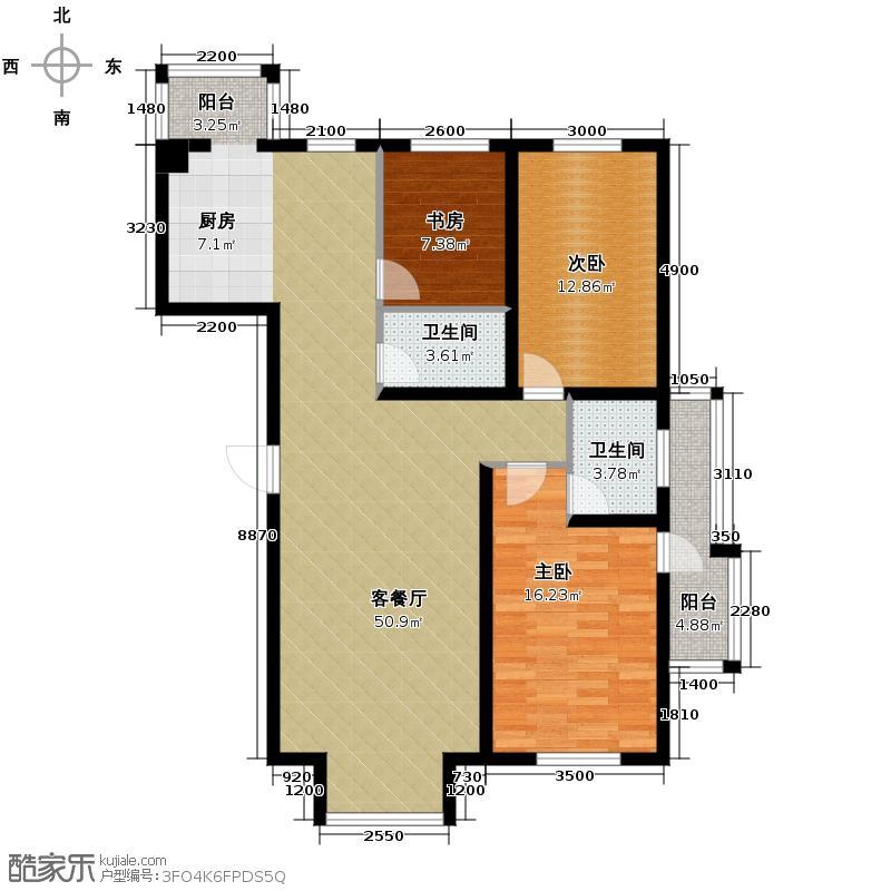 书香人家138.57㎡户型3室2厅2卫