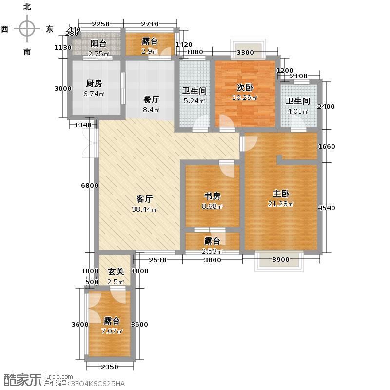 丽江苑135.41㎡一期户型3室2厅2卫