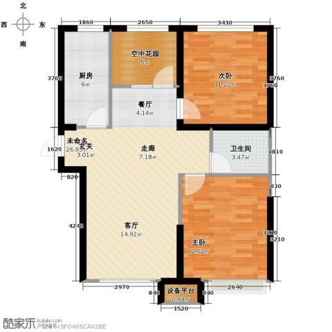 华府丹郡2室2厅1卫0厨92.00㎡户型图