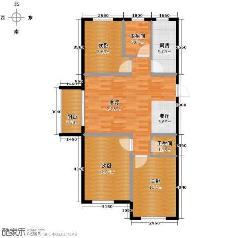 沿湖城2室2厅1卫0厨87.00㎡户型图