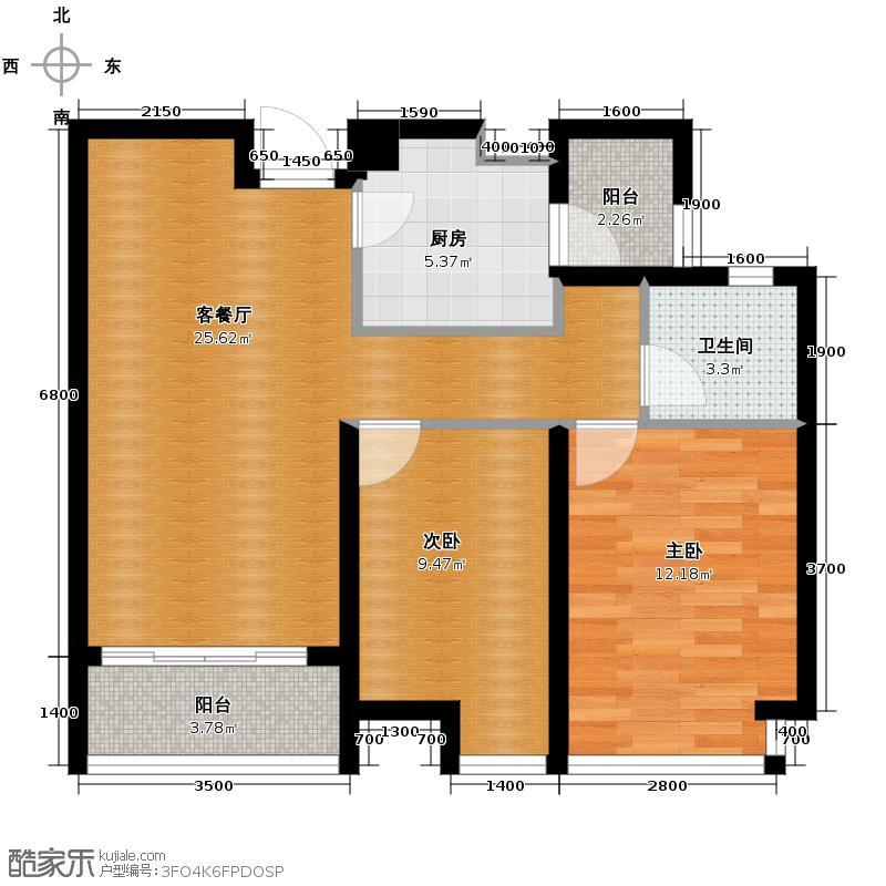 佛山万科广场81.46㎡A户型2室2厅1卫