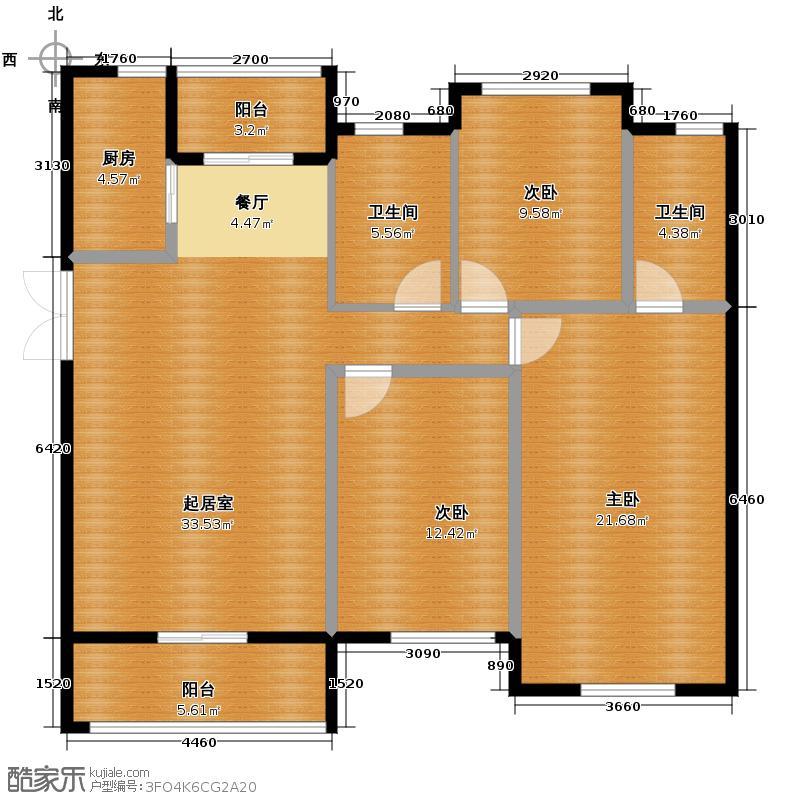 宝能水岸康城114.00㎡B2户型3室2厅2卫