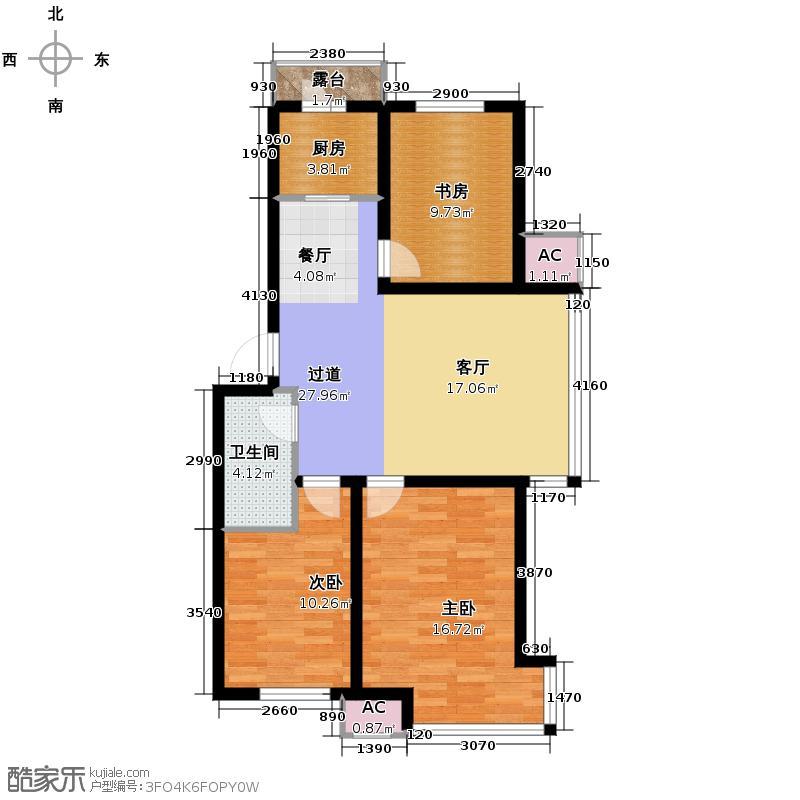 亚洲城110.00㎡5、6号楼户型3室2厅1卫