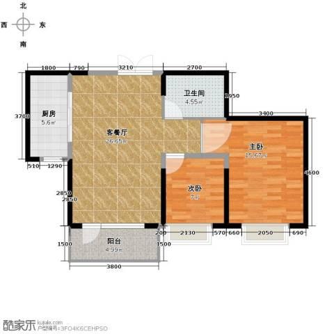 保利达江湾城2室2厅1卫0厨92.00㎡户型图